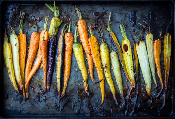 top down shots of carrots on tray