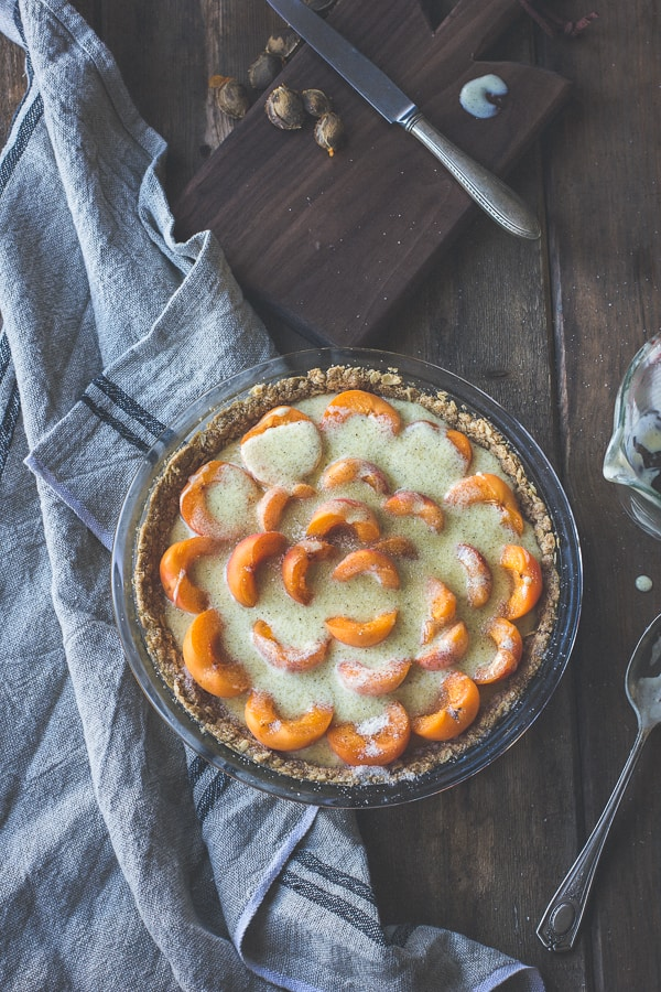 Apricot Custard Pie with Cardamom Crumble Crust {Gluten-Free} i a dish