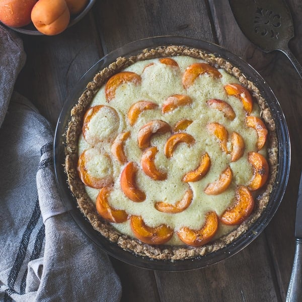 delicious Apricot Custard Pie with Cardamom Crumble Crust {Gluten-Free}