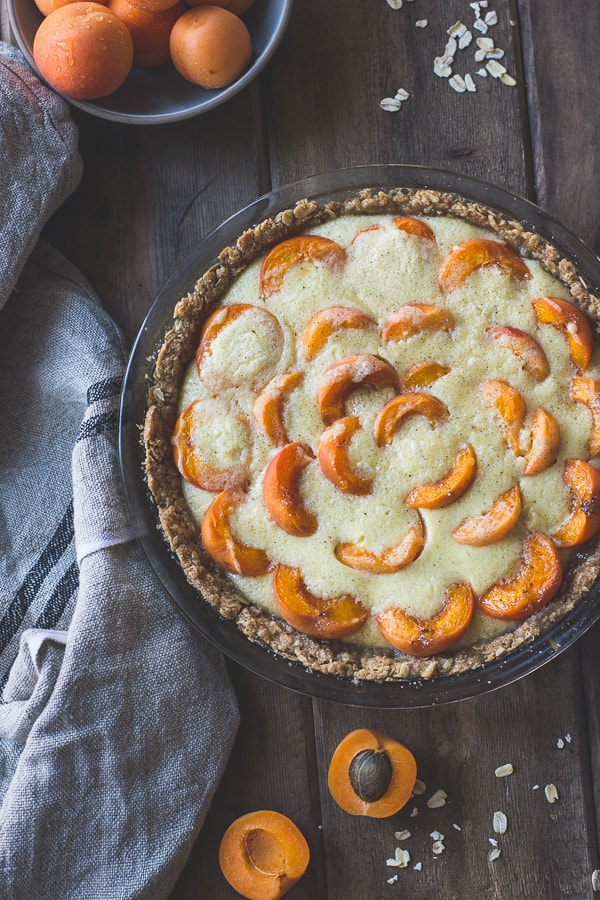 Apricot Custard Pie with Cardamom Crumble Crust {Gluten-Free} on table