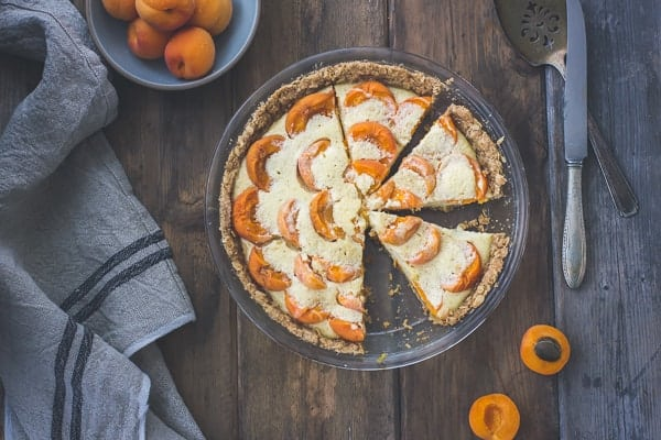 top down shot of Apricot Custard Pie with Cardamom Crumble Crust {Gluten-Free}