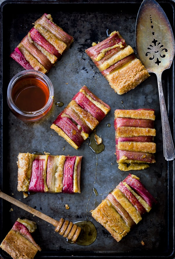 overhead shot of Rustic Rhubarb, Almond, and Honey Tart {Gluten-Free}