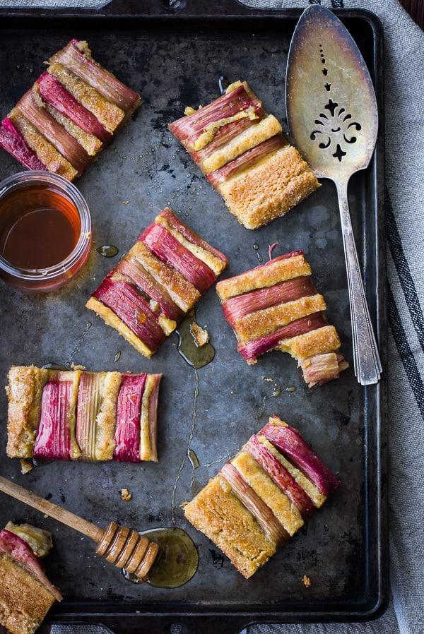 top down shot of Rustic Rhubarb, Almond, and Honey Tart {Gluten-Free}