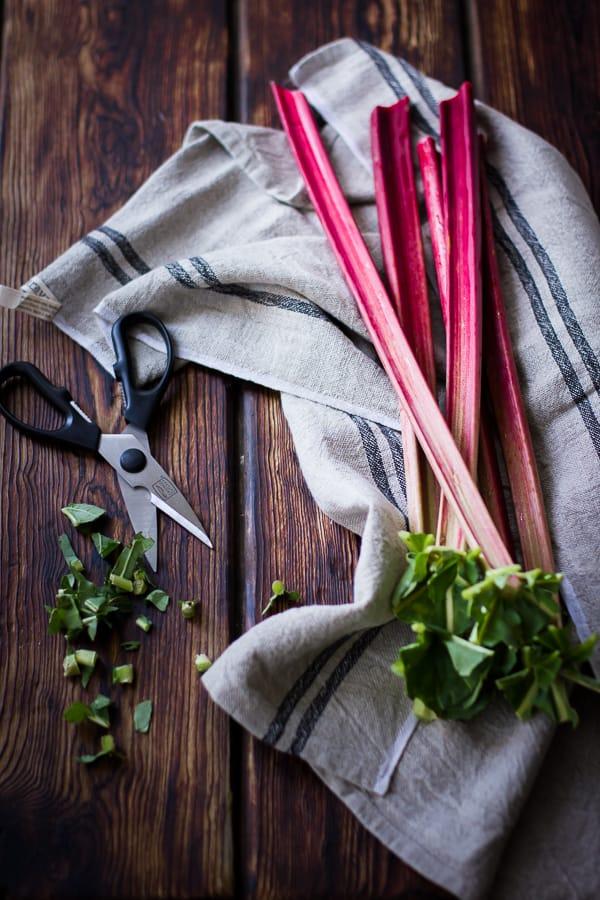 rhubarb on table