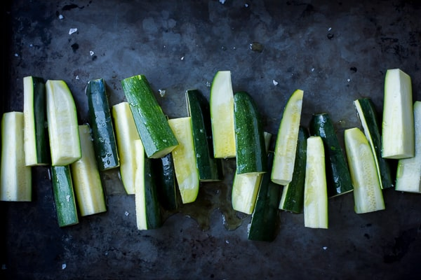 zucchini slices before cooking