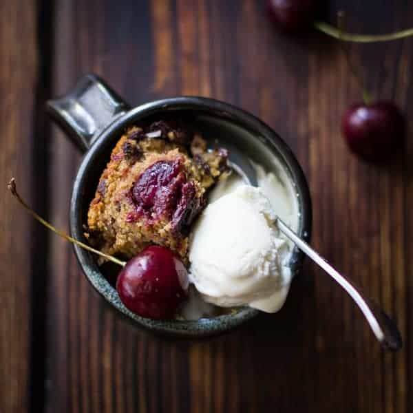 Chocolate Cherry Skillet Blondie + Vanilla Bourbon Frozen Yogurt {Gluten-Free} in a mug