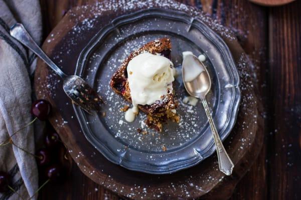 slice of Chocolate Cherry Skillet Blondie + Vanilla Bourbon Frozen Yogurt {Gluten-Free}