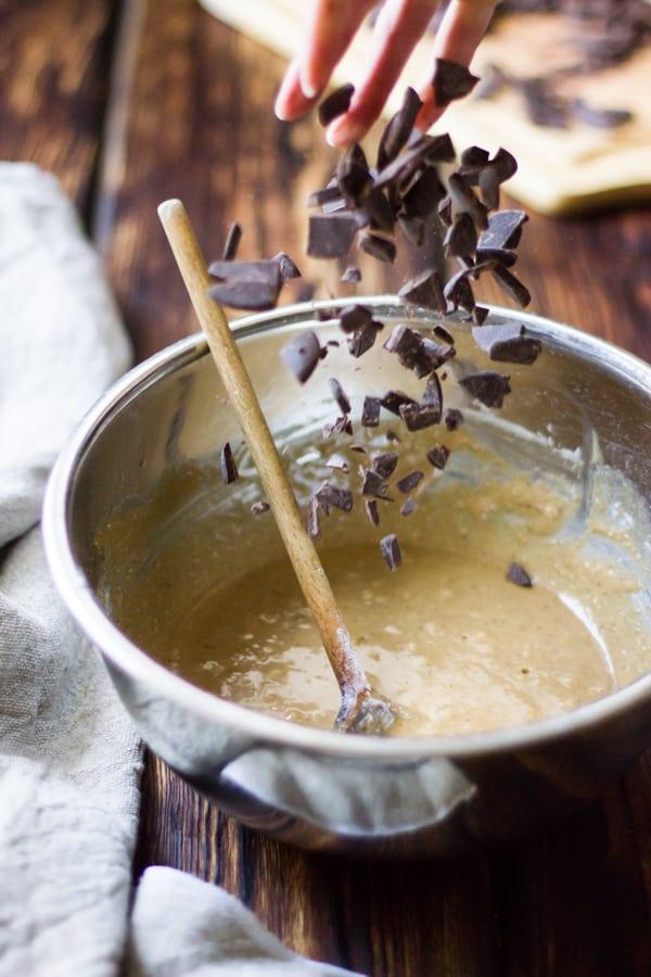 chocolate chunks going into bowl