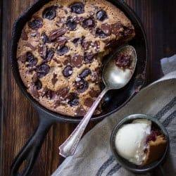 Chocolate Cherry Skillet Blondie + Vanilla Bourbon Frozen Yogurt {Gluten-Free}