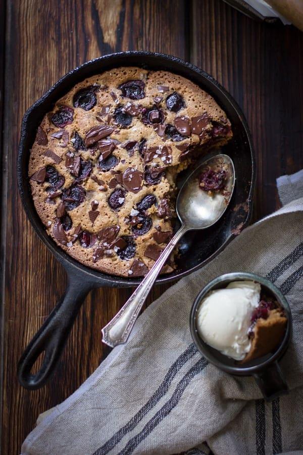 top down shot of Chocolate Cherry Skillet Blondie + Vanilla Bourbon Frozen Yogurt {Gluten-Free}