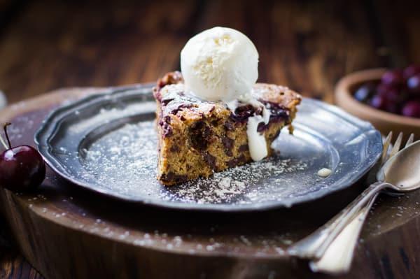 nice slice of Chocolate Cherry Skillet Blondie + Vanilla Bourbon Frozen Yogurt {Gluten-Free}