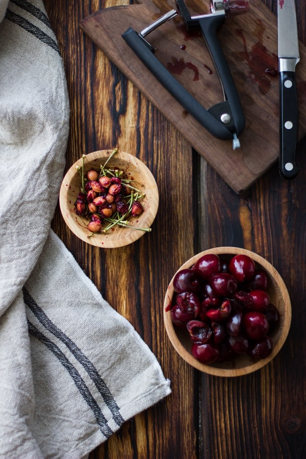 bowl of pitted cherries