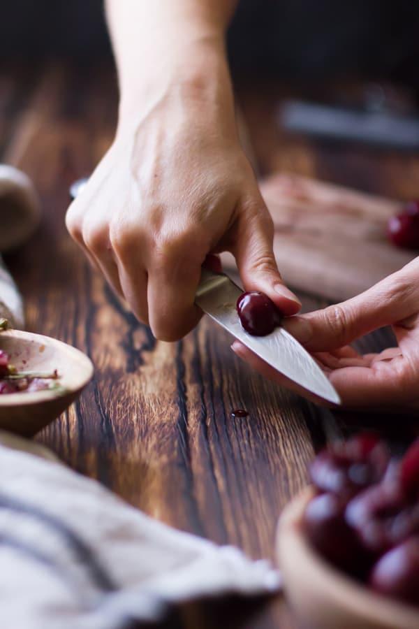 cutting cherries