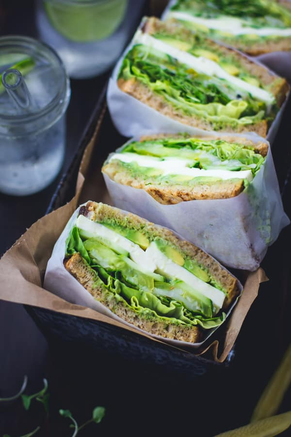 row of sandwiches