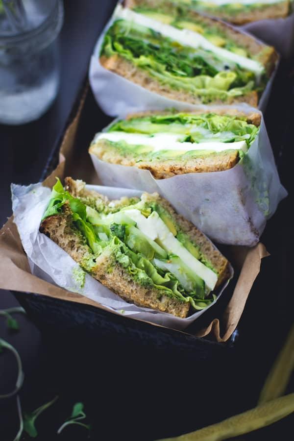 Green Goddess Sandwiches in a basket