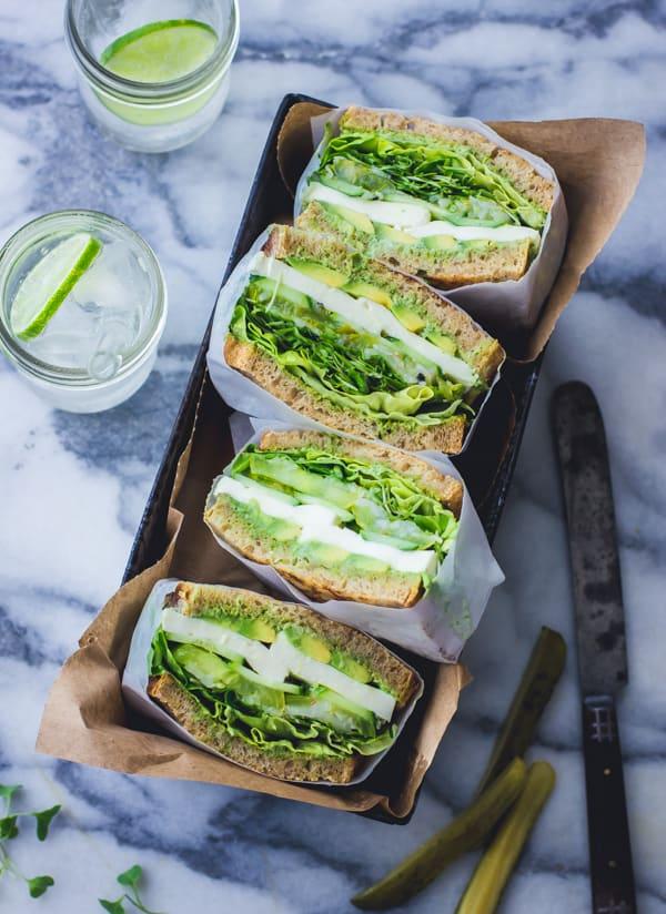 overhead shot of Green Goddess Sandwiches