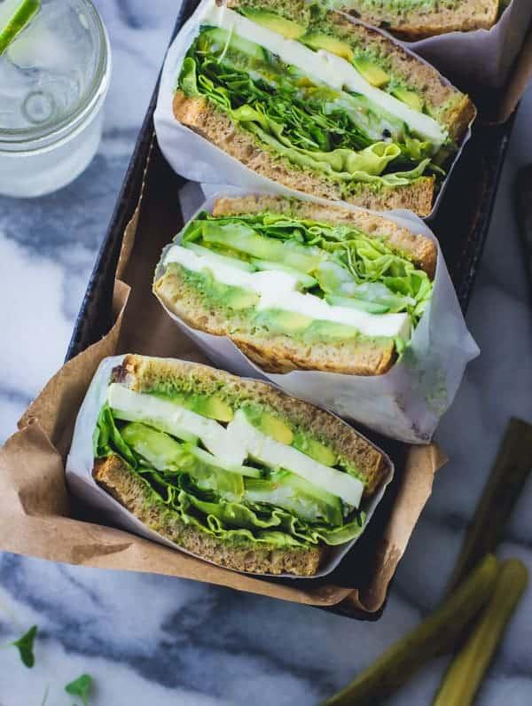 top down shot of Green Goddess Sandwiches