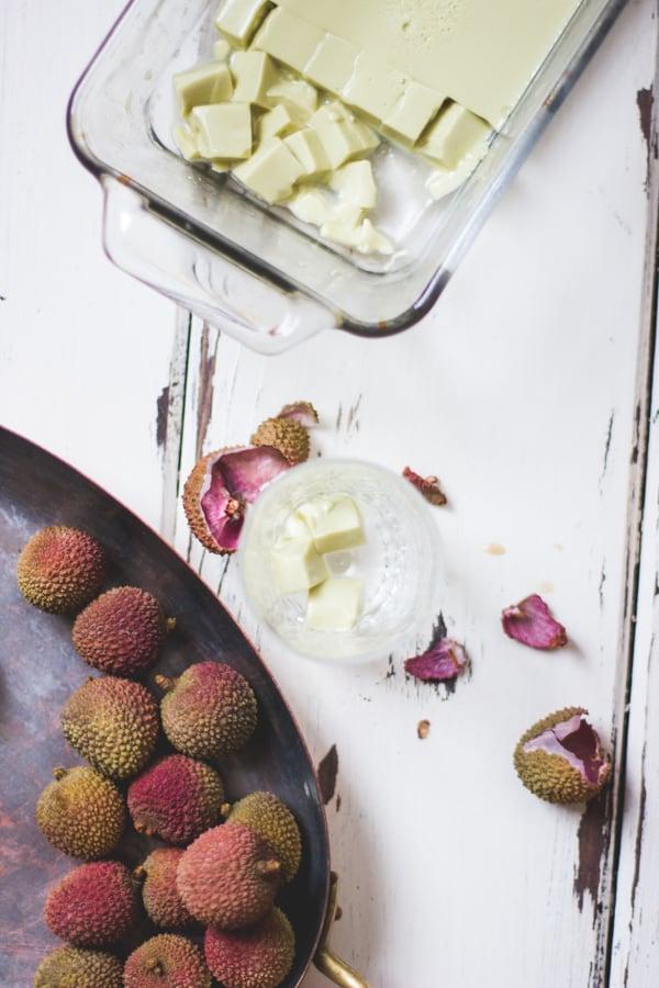 lychees in pan