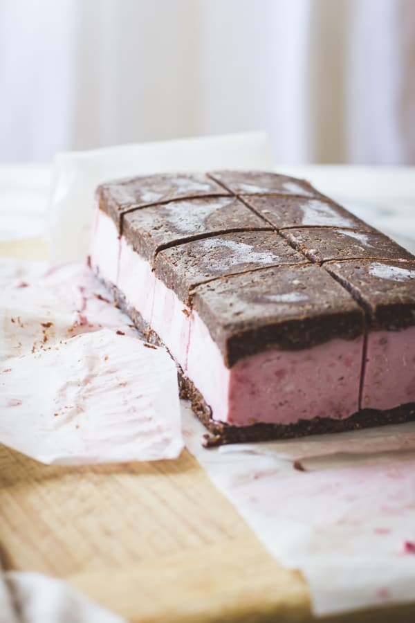 slab of Raspberry Brownie Ice Cream Sandwiches {Vegan, Gluten-Free, Raw-ish, Naturally Sweetened}