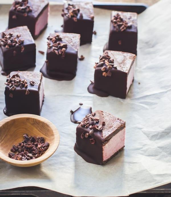 rows of Raspberry Brownie Ice Cream Sandwiches {Vegan, Gluten-Free, Raw-ish, Naturally Sweetened}