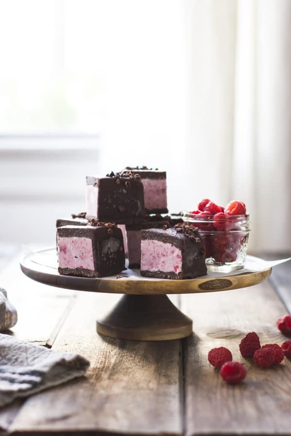 stack of Raspberry Brownie Ice Cream Sandwiches {Vegan, Gluten-Free, Raw-ish, Naturally Sweetened}