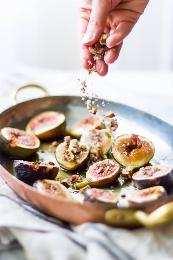 nuts sprinkled on Za'atar Broiled Figs with Pecans