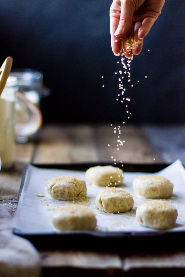 sugar sprinkled onto shortbread