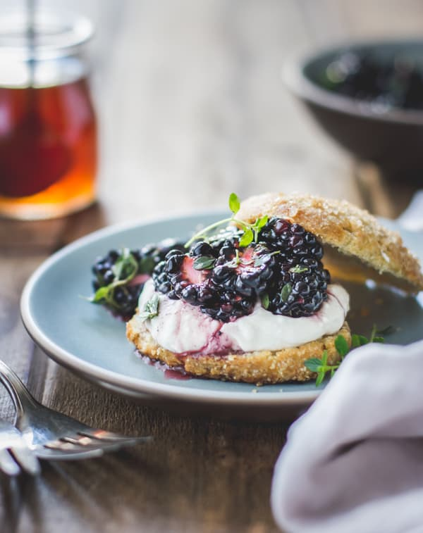 close up of Ricotta Blackberry Shortcakes with Honey and Thyme {Gluten-Free}