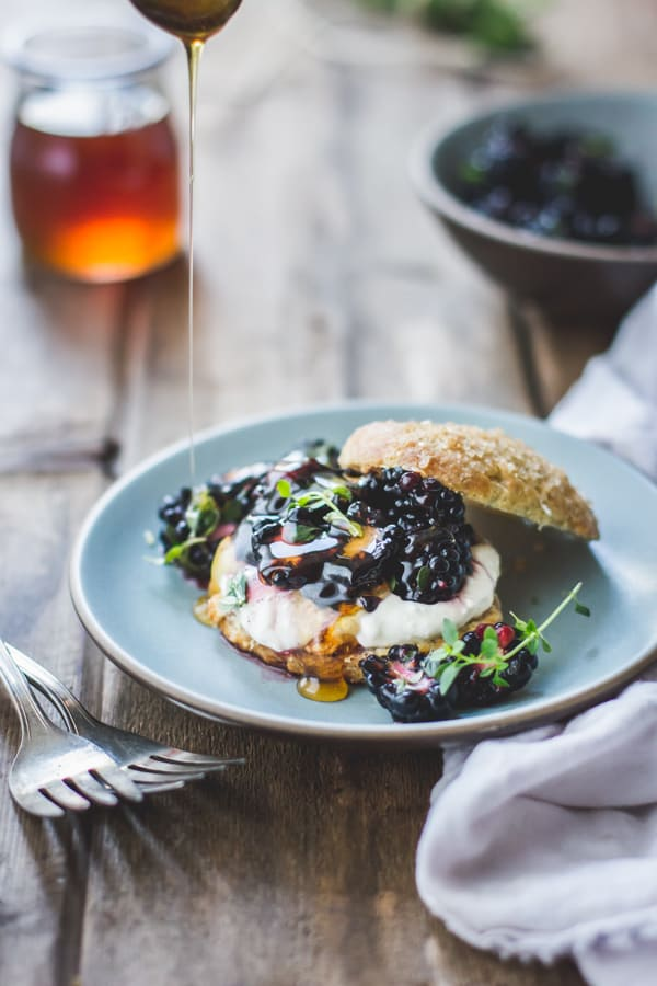 honey drizzled on Ricotta Blackberry Shortcakes with Honey and Thyme {Gluten-Free}
