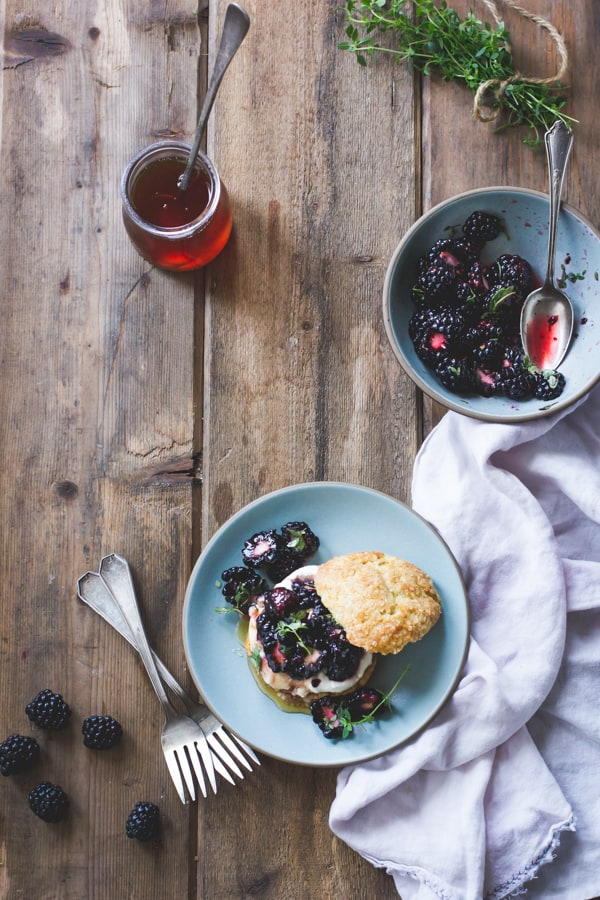 top down shot of Ricotta Blackberry Shortcakes with Honey and Thyme {Gluten-Free}