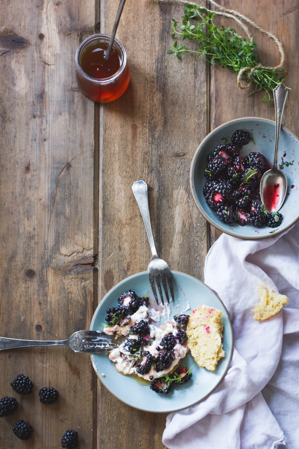Ricotta Blackberry Shortcakes with Honey and Thyme {Gluten-Free} half eaten on plate
