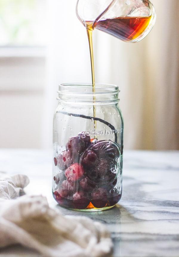 liquid poured onto cherries