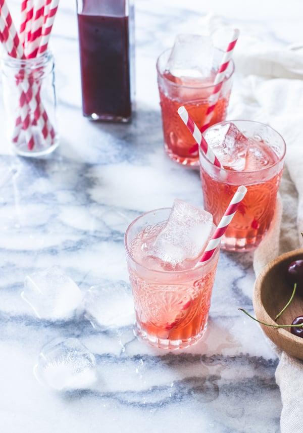 three glasses of Cherry Vanilla Maple Shrub {Drinking Vinegar}