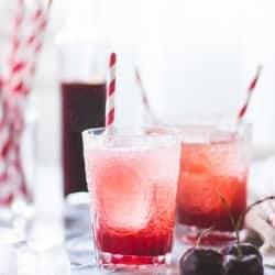 Cherry Vanilla Maple Shrub {Drinking Vinegar in glasses