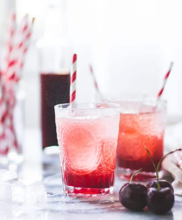 Cherry Vanilla Maple Shrub {Drinking Vinegar in glasses