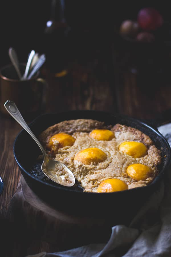Southern-Style Peach Cobbler with Maple Sugar, Bourbon + Brown Butter {Gluten-Free}