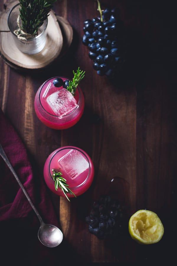 top down shot Zinfandel Grape, Rosemary + Gin Crush