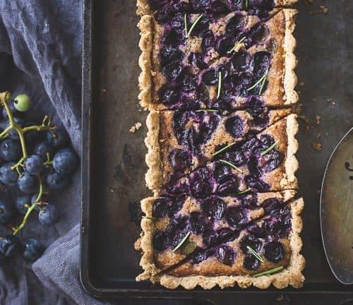 Concord Grape+ Walnut Frangipane Tart with a Gluten-Free Rosemary Crust