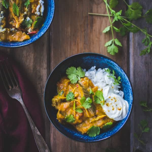 Curried Roasted Eggplant with Smoked Cardamom and Coconut Milk in a bowl