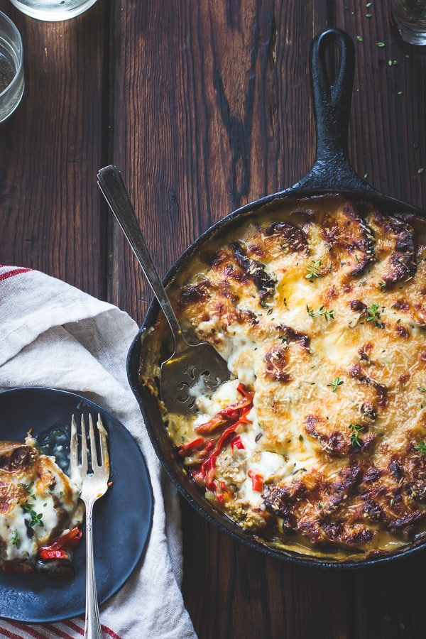 overhead shot of skillet Eggplant, Sweet Pepper, and Bechamel Gratin {Gluten-Free}