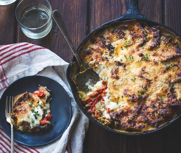 delicious Eggplant, Sweet Pepper, and Bechamel Gratin {Gluten-Free}