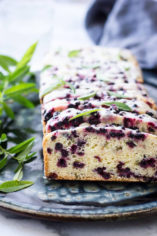 row of Huckleberry Lemon Verbena Tea Cake {Gluten-Free} slices