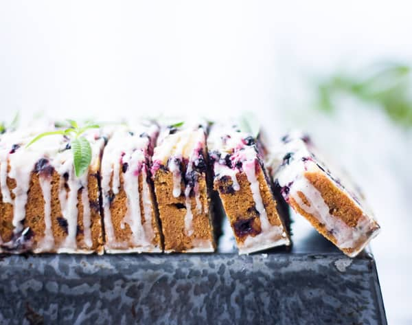 sliced Huckleberry Lemon Verbena Tea Cake {Gluten-Free}