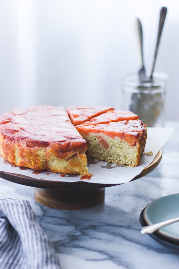 side shot of Ginger, Vanilla + Quince Upside-Down Cake {Gluten-Free}