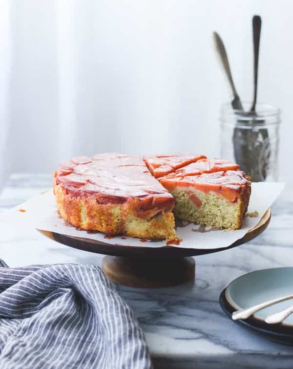 Ginger, Vanilla + Quince Upside-Down Cake {Gluten-Free} on cake plate