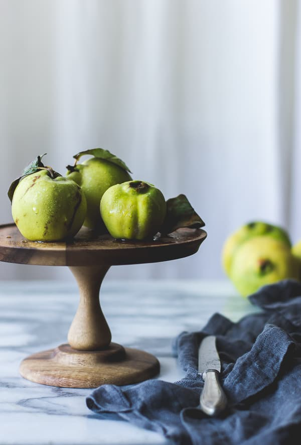 quince on cake tray