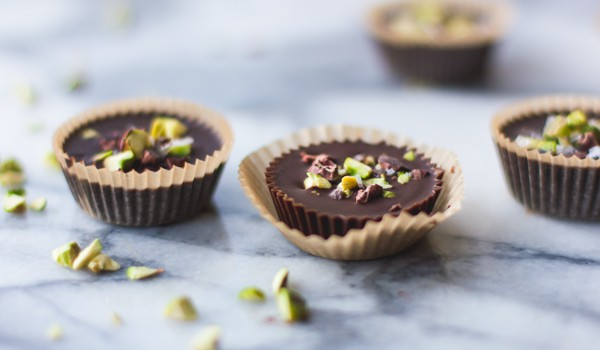 3 Raw Chocolate + Pistachio Butter Cups