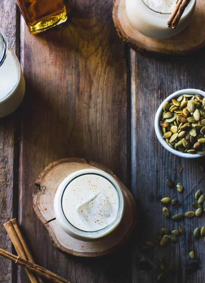Vegan Homemade Horchata with Pumpkin Seeds, Maple & Spice