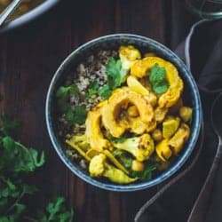 Roasted Delicata Squash, Cauliflower + Chickpea Curry