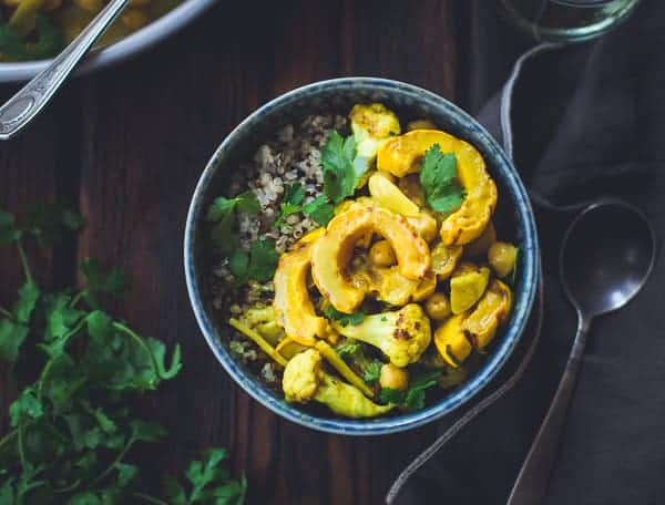 delicious Roasted Delicata Squash, Cauliflower + Chickpea Curry